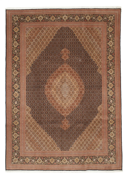 Tabriz 50 Raj With Silk Rug 252X353 Authentic  Oriental Handknotted Brown/Light Brown Large (Wool/Silk, Persia/Iran)