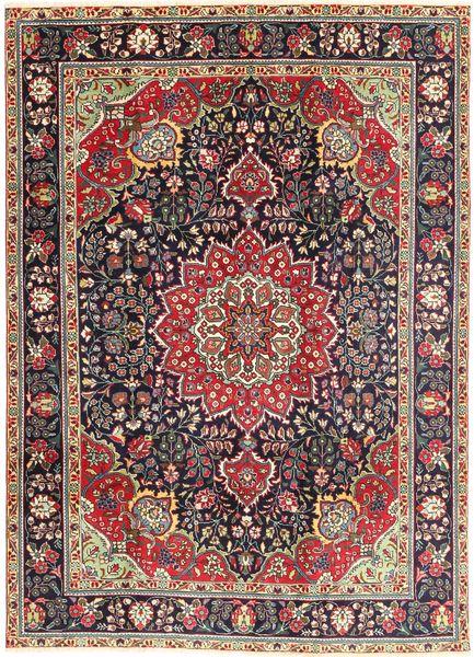 Tabriz Matta 212X285 Äkta Orientalisk Handknuten Mörkröd/Ljusrosa (Ull, Persien/Iran)