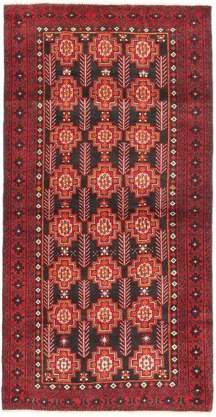 Belutsch Teppich  99X195 Echter Orientalischer Handgeknüpfter Dunkelrot/Braun (Wolle, Persien/Iran)