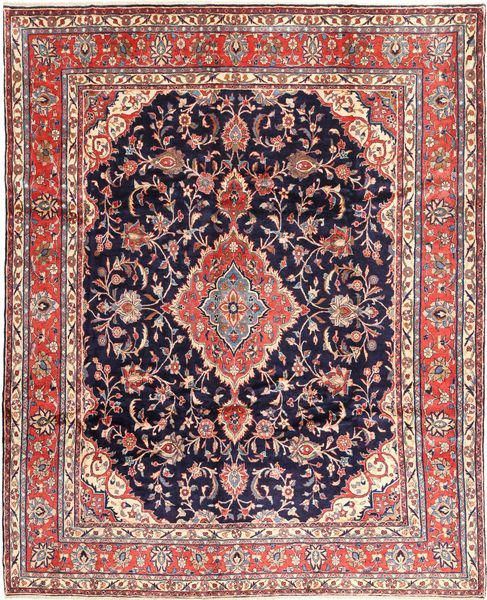 Hamadan#shahrbaf Rug 282X342 Authentic  Oriental Handknotted Dark Purple/Light Pink Large (Wool, Persia/Iran)