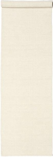 Kilim Loom - Off White Rug 80X300 Authentic  Modern Handwoven Hallway Runner  Beige (Wool, India)