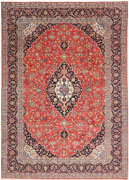 Keshan Rug 268X376 Authentic  Oriental Handknotted Light Brown/Dark Red/Rust Red Large (Wool, Persia/Iran)