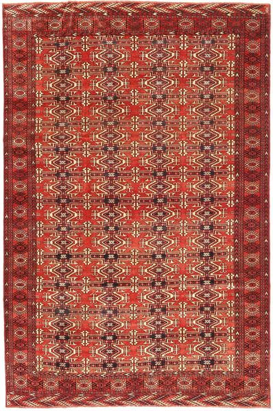 Turkaman Patina Teppe 210X316 Ekte Orientalsk Håndknyttet Mørk Rød (Ull, Persia/Iran)