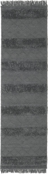 キリム Berber Ibiza - ソフトグレー 絨毯 80X300 モダン 手織り 廊下 カーペット 濃いグレー/青 (ウール, インド)