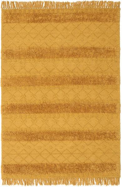 Kelim Berber Ibiza - Mustard Yellow Teppe 160X230 Ekte Moderne Håndvevd Lysbrun/Orange (Ull, India)