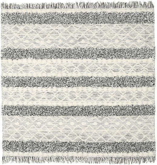 キリム Berber Ibiza - Black And White Mix 絨毯 200X200 モダン 手織り 正方形 暗めのベージュ色の/薄い灰色/ベージュ (ウール, インド)