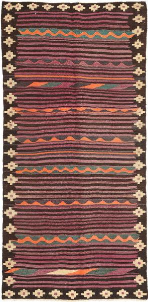 Kelim Fars Matto 133X277 Itämainen Käsinkudottu Käytävämatto Tummanruskea/Violetti (Villa, Persia/Iran)