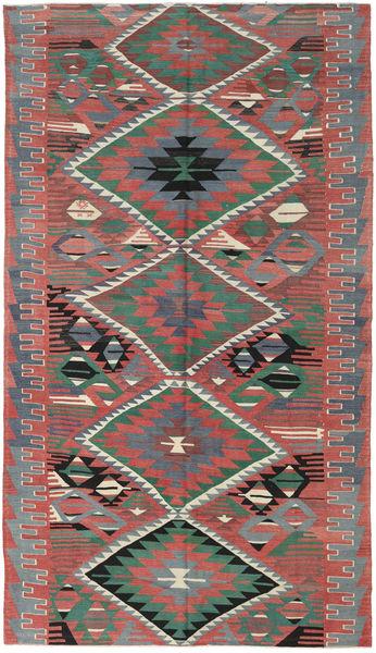 Kilim Turkish Rug 180X320 Authentic  Oriental Handwoven Rust Red/Dark Grey (Wool, Turkey)