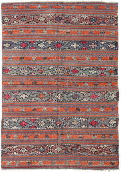 Kelim Turkki Matto 180X258 Itämainen Käsinkudottu Tummanharmaa/Oranssi (Villa, Turkki)