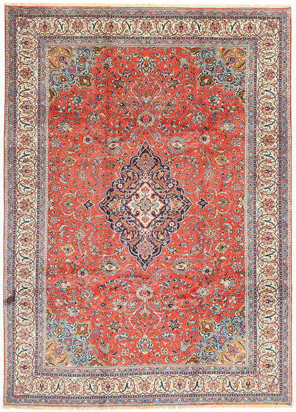 Sarough Matta 243X338 Äkta Orientalisk Handknuten Beige/Ljusgrå (Ull, Persien/Iran)