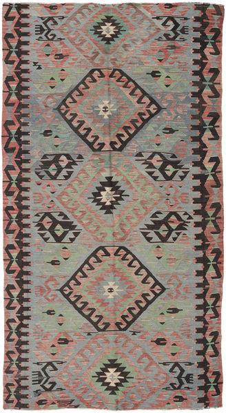 Kelim Turkisk Matta 153X292 Äkta Orientalisk Handvävd Mörkgrå/Ljusgrå (Ull, Turkiet)