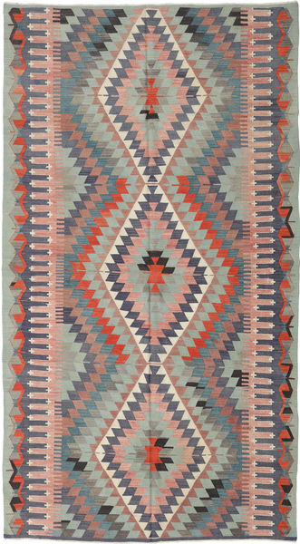 Kilim Turkish Rug 175X325 Authentic  Oriental Handwoven Dark Grey/Light Grey (Wool, Turkey)