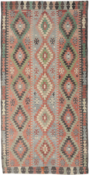Kelim Turkisk Matta 170X334 Äkta Orientalisk Handvävd Ljusbrun/Mörkgrå (Ull, Turkiet)