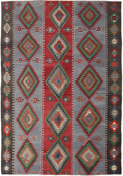 Kilim Turkish Rug 187X253 Authentic  Oriental Handwoven Dark Grey/Dark Red (Wool, Turkey)