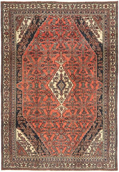 Hamadan Shahrbaf Patina Matto 233X334 Itämainen Käsinsolmittu Tummanpunainen/Tummanruskea (Villa, Persia/Iran)