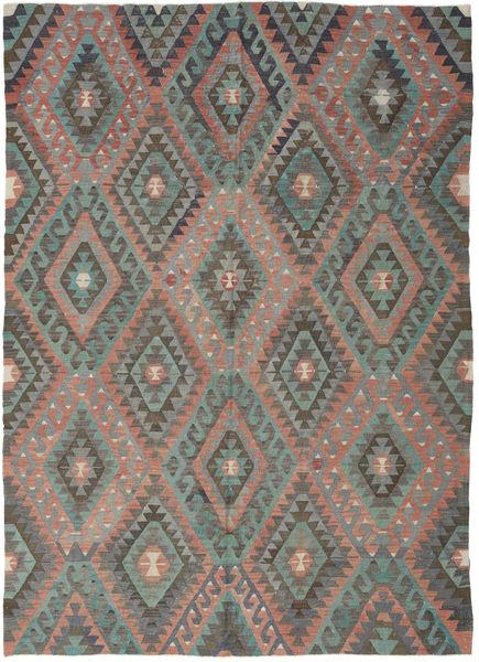 Kilim Turquía Alfombra 194X270 Oriental Tejida A Mano Gris Oscuro/Marrón Claro (Lana, Turquía)