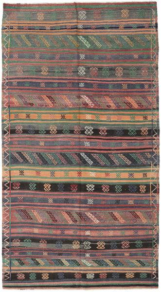 Kilim Turkish Rug 155X286 Authentic  Oriental Handwoven Dark Grey/Light Brown (Wool, Turkey)