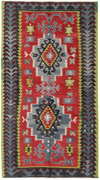 Kelim Turkisk Matta 146X266 Äkta Orientalisk Handvävd Mörkgrå/Roströd (Ull, Turkiet)