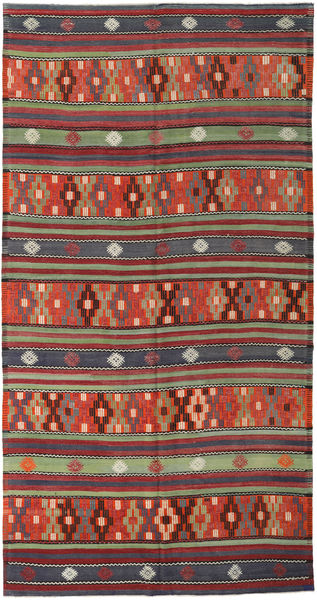 Kilim Turkish Rug 180X343 Authentic  Oriental Handwoven Dark Grey/Dark Red (Wool, Turkey)