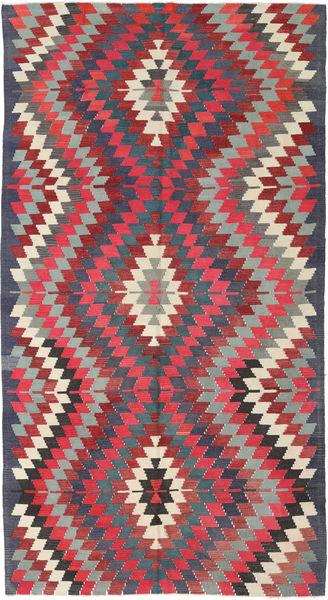 Kilim Turkish Rug 170X318 Authentic  Oriental Handwoven Dark Grey/Crimson Red (Wool, Turkey)
