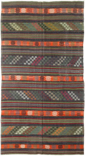 Kilim Turkish Rug 182X343 Authentic  Oriental Handwoven Dark Grey/Dark Red (Wool, Turkey)