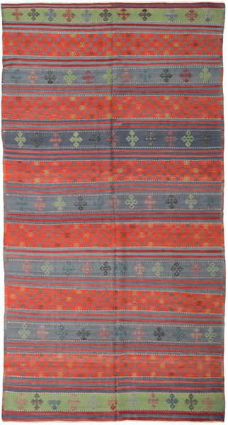 Kilim Turkish Rug 177X336 Authentic  Oriental Handwoven Dark Grey/Rust Red (Wool, Turkey)