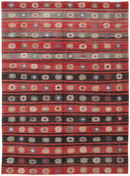 Kelim Turkisk Matta 200X266 Äkta Orientalisk Handvävd Mörkröd/Svart (Ull, Turkiet)