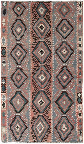 Kilim Turkish Rug 160X267 Authentic  Oriental Handwoven Dark Grey/Dark Red (Wool, Turkey)