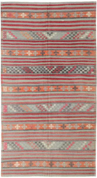 Kilim Turkish Rug 180X334 Authentic  Oriental Handwoven Light Grey/Rust Red (Wool, Turkey)