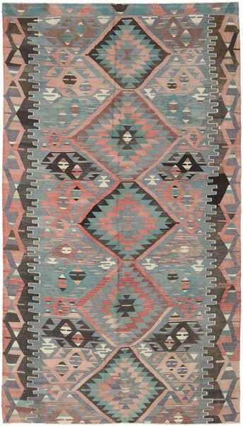 Kelim Turkki Matto 180X313 Itämainen Käsinkudottu Tummanharmaa/Tummanvihreä (Villa, Turkki)
