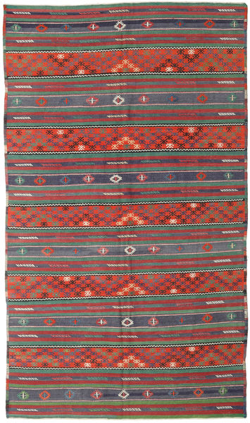 Kilim Turkish Rug 170X296 Authentic  Oriental Handwoven Dark Red/Dark Grey (Wool, Turkey)