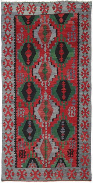 Kelim Turkki Matto 160X320 Itämainen Käsinkudottu Tummanharmaa/Tummanpunainen (Villa, Turkki)