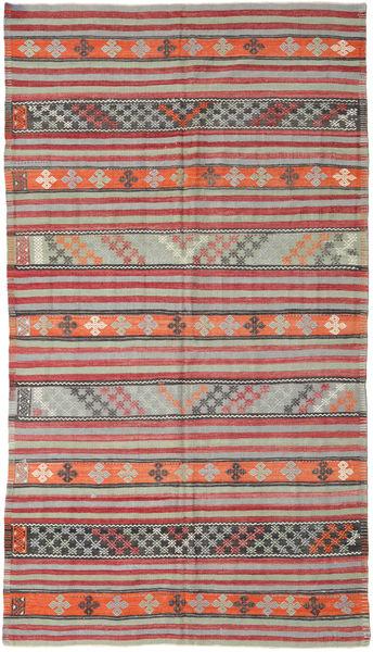 Kelim Turkisk Matta 180X325 Äkta Orientalisk Handvävd Ljusgrå/Roströd (Ull, Turkiet)