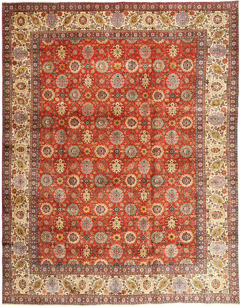 Tabriz Rug 304X385 Authentic  Oriental Handknotted Light Brown/Rust Red Large (Wool, Persia/Iran)