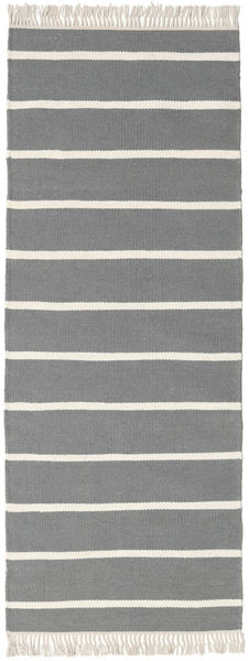Dhurrie Stripe - Grey Rug 80X200 Authentic  Modern Handwoven Hallway Runner  Dark Grey/Light Grey (Wool, India)