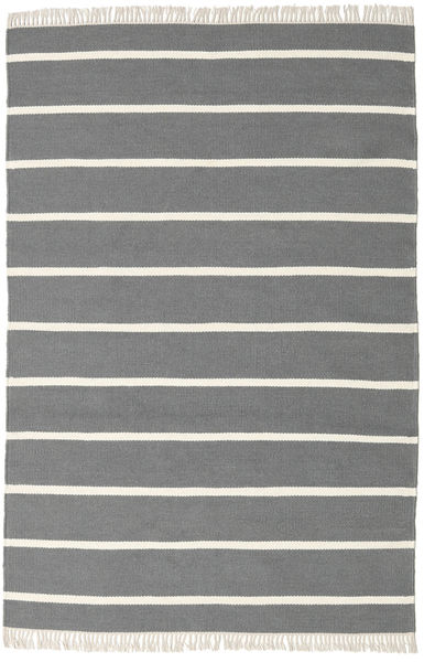 Dhurrie Stripe - Grey Rug 140X200 Authentic  Modern Handwoven Dark Grey/Beige (Wool, India)