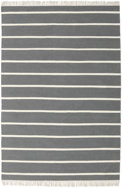 Dhurrie Stripe - Grey Rug 160X230 Authentic  Modern Handwoven Dark Grey/Beige (Wool, India)
