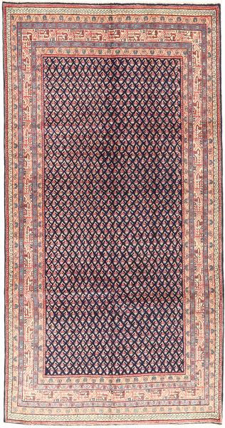 Sarouk Mir Rug 158X304 Authentic  Oriental Handknotted Dark Purple/Dark Beige (Wool, Persia/Iran)