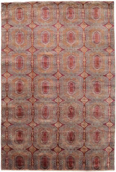 Damask Matto 205X305 Moderni Käsinsolmittu Vaaleanruskea/Ruskea ( Intia)