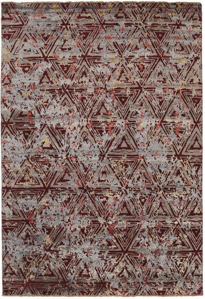 Damask Matta 206X299 Äkta Modern Handknuten Ljusbrun/Mörkbrun ( Indien)