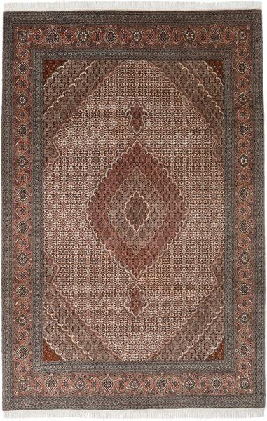 Tabriz 40 Raj Teppe 198X300 Ekte Orientalsk Håndknyttet Lysbrun/Mørk Brun (Ull/Silke, Persia/Iran)