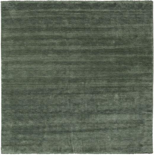 Handloom Fringes - Skogsgrønn Teppe 250X250 Moderne Kvadratisk Mørk Grå/Olivengrønn Stort (Ull, India)