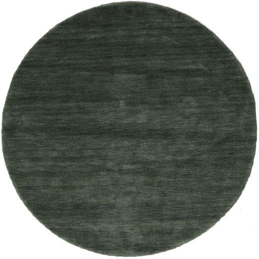 Handloom - Leśna Zieleń Dywan Ø 150 Nowoczesny Okrągły Ciemnozielony/Ciemnoszary (Wełna, Indie)