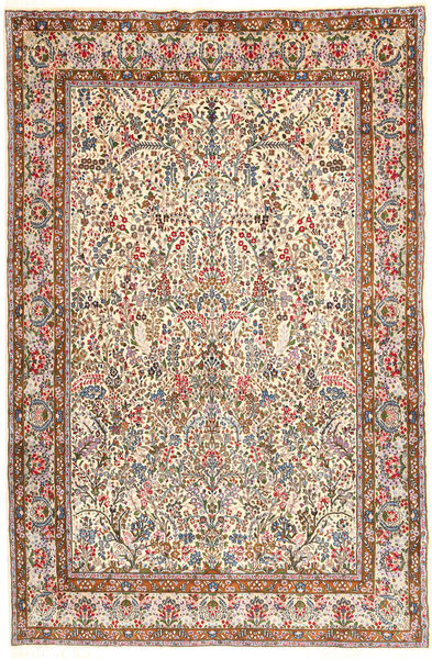 Kerman Lavar Rug 195X295 Authentic  Oriental Handknotted Light Brown/Dark Grey (Wool, Persia/Iran)
