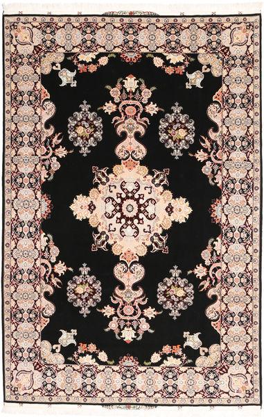 Tabriz#60 Raj Silkerenning Teppe 202X305 Ekte Orientalsk Håndknyttet Mørk Brun/Lyserosa (Ull/Silke, Persia/Iran)