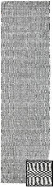 Bamboo Grass - Black_ グレー 絨毯 80X290 モダン 廊下 カーペット 薄い灰色/濃い茶色 (ウール/バンブーシルク, トルコ)