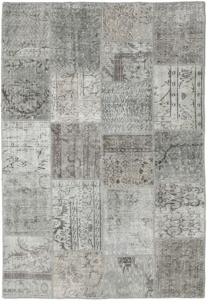 Patchwork Rug 158X233 Authentic  Modern Handknotted Light Grey/Dark Grey (Wool, Turkey)