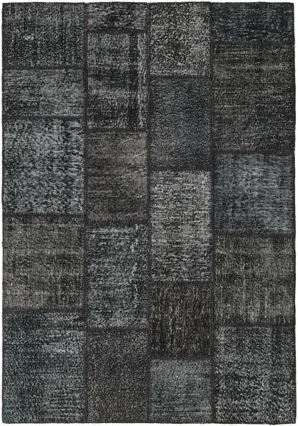 Patchwork Rug 139X201 Authentic  Modern Handknotted Dark Grey/Dark Blue (Wool, Turkey)