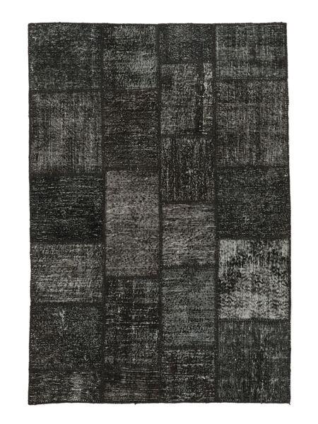Patchwork Matto 138X201 Moderni Käsinsolmittu Musta/Tummansininen (Villa, Turkki)