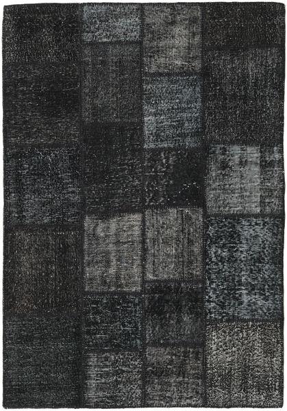 Patchwork Matto 137X200 Moderni Käsinsolmittu Musta/Tummanharmaa (Villa, Turkki)